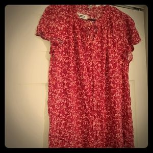 Red and pink floral shirt